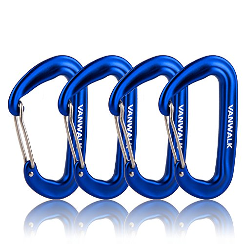 12KN Aluminium Wiregate Carabiners 4 Pack Rated 2645 LBS each – 7075 VANWALK Lightweight Carabiner Clips for Hammock Climbing Rocking (4 blue)