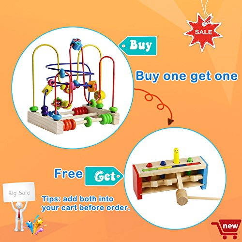 Wooden Fruits Bead Maze Roller Coaster Educational Abacus Beads Circle Toys Gift Colorful Activity Game for Children Toddlers Kids Boys Girls by Fajiabao (Image #1)