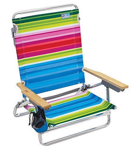 Rio Beach Classic 5 Position Lay Flat Folding Beach Chair - Beach Club Stripes