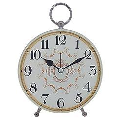 Konigswerk Antique Vintage Retro Old Fashioned Decorative Quiet Non-ticking Sweep Second Hand, Quartz Analog Large Numerals Desk Clock, Battery Operated, Loud Alarm (AC119G)