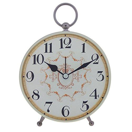 Clock Metal Desk Quartz (Konigswerk Vintage Retro Old Fashioned Decorative Quiet Non-ticking Sweep Second Hand, Quartz Analog Large Numerals Desk Clock, Battery Operated, Loud Alarm (AC119G))