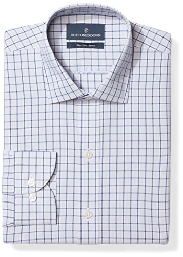 BUTTONED DOWN Men's Slim Fit Spread Collar Pattern Non-Iron Dress Shirt, Grey/Blue Windowpane Check, 14.5