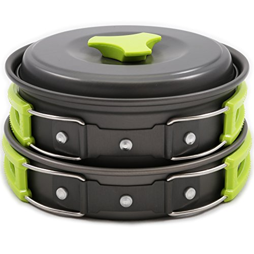 Camping Cookware Mess Kit Backpacking Gear & Hiking Outdoors Bug Out Bag Cooking Equipment 10 Piece Cookset |