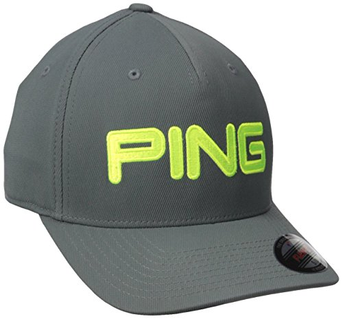 Ping Men's tour Structured Men's Hat, Dark Grey/Limelite, Large/X-Large
