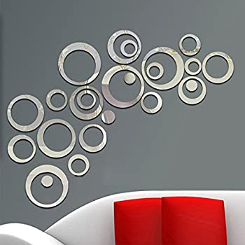 aooyaoo Circle Mirror DIY Wall Sticker Wall Decoration 24pcs Grey