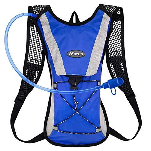 KUYOU Hydration Pack Water Rucksack Backpack Bladder Bag Cycling Bicycle Bike/Hiking Climbing Pouch + 2L Hydration Bladder,(Blue+Water Pouch)