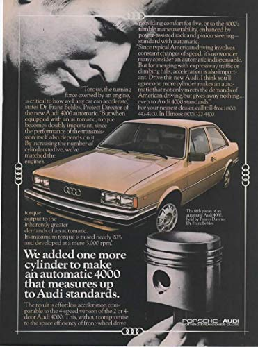 - Magazine Print ad: 1980 Audi 4000 Automatic, Project Director Dr Franz Behles,