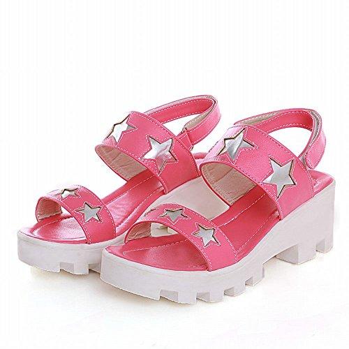 Carolbar Donna Moda Dolce Casual Carino A Forma Di Stella Modello Piattaforma Mid Sandali Tacco Grosso Color Pesca Rosa