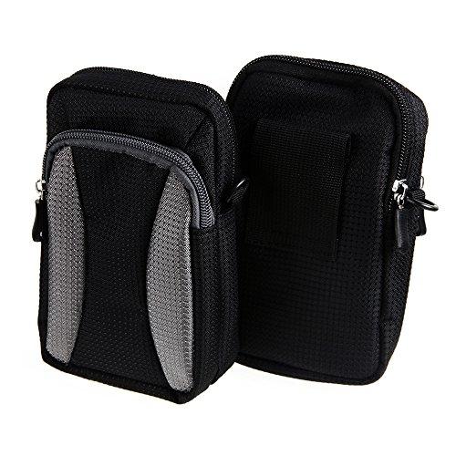 Gürteltasche, Holster / Umhängetasche für Apple iPhone 6, schwarz-grau + Extrafach mit Platz für Powerbank, Festplatte etc. | Case travelbag Brustbeutel Brusttasche- K-S-Trade(TM) (Wir zahlen Steuern
