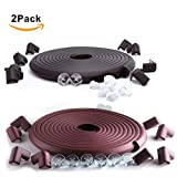 SafeBaby & Child Safety 23.2ft Set. 16 Corners Guards Baby proofing Edge. Clear Protective Bumpers for Furniture. Cushion Foam Strip Brick pad childproof Fireplace Guard for Toddlers Black Brown