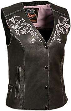 Milwaukee Womens Leather Vest Black//Black, XX-Large