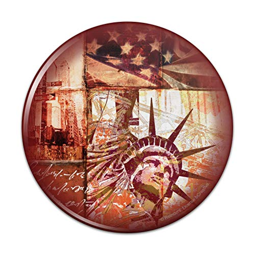 New York City Statue Liberty Tile Collage Compact Pocket Purse Hand Cosmetic Makeup Mirror - 2.25