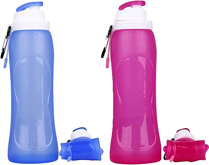 Zonegrace 2 Pack Collapsible Silicone Travel Water Bottles NIB X