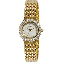 Burgi Women's BUR107YG Crystal Accented Yellow Gold Swiss Quartz Watch with White Mother of Pearl Dial and Yellow Gold Bracelet