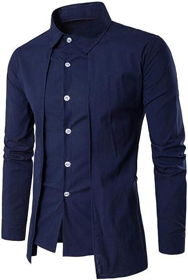 Tops Camisas De Hombre Camisa con Cuello Alto Hombres Clásica Negocios De Camisa Slim Especial Estilo Fit Color Sólido Casual Tops Botón Camiseta Larga Camiseta Hem Camisa Delgada: Amazon.es: Ropa y accesorios