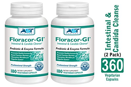 Floracor-GI - 360 Vegetarian Capsules (180 x 2) -Intestinal and Candida Cleanse for Maximum Absorption - Natural Premium Probiotic, Prebiotic and Enzyme Formula