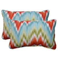 Pillow Perfect Indoor/Outdoor Flame Stitch Corded Rectangular Throw Pillow, Opal, Set of 2 from Pillow Perfect