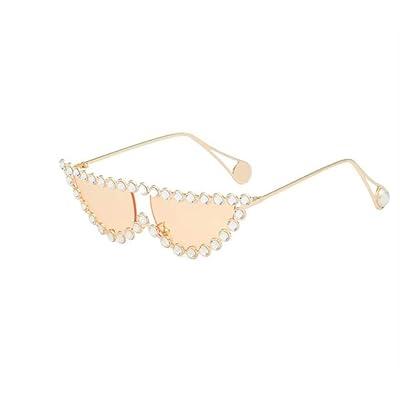 shengbuzailai Gafas de sol con forma de ojo de gato con diamantes de imitación con degradado plano Vintage Gafas transparentes Gafas de sol de diseñador 7: Ropa y accesorios