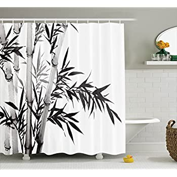 Amazon.com: Asian Shower Curtain Bamboo Decor by Ambesonne, Bamboo ...