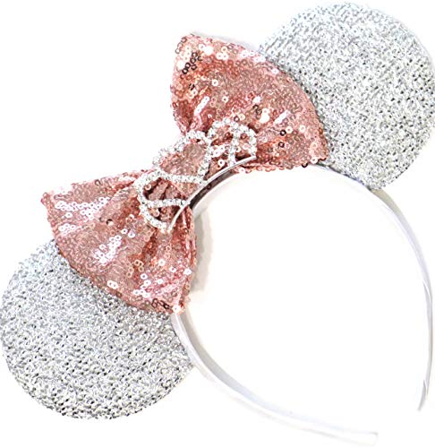 CLGIFT Rose Gold Mickey Ears,Tiara Birthday Party/Disney Princess Ears/Disney Princess Ears,Silver White Minnie Ears, Rose Gold Minnie Ears, I Do Minnie Wedding,Minnie Bride Mouse Ears -