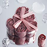 BalsaCircle 100 Mauve Cute Heart Favor Boxes with 6 Rose Petal Soaps for Wedding Party Birthday Decorations Supplies