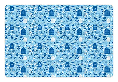 Ambesonne Pet Mat for Food and Water, Rectangle Non-Slip Rubber Mat for Dogs and Cats, Elements from Nature and Architecture of Netherlands in Blue Tones, Blue Navy