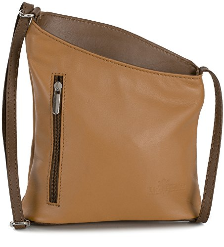 Body Bag Body Cross Light Genuine Womens Brown JOY Tan Shoulder Cross Soft Trim Leather Mini LIATALIA Purse qvfw8H