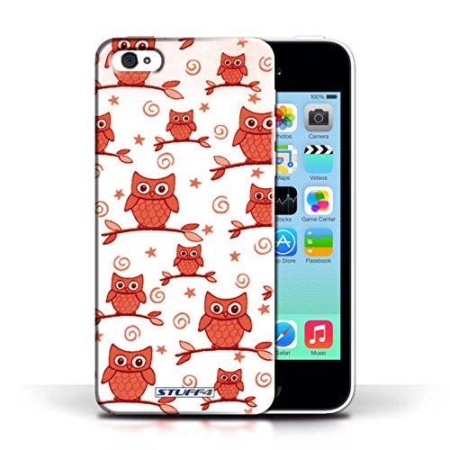 iCHOOSE Print Motif Coque de protection Case / Plastique manchon de telephone Coque pour Apple iPhone 5C / Collection Motif Hibou / Rouge/Blanc