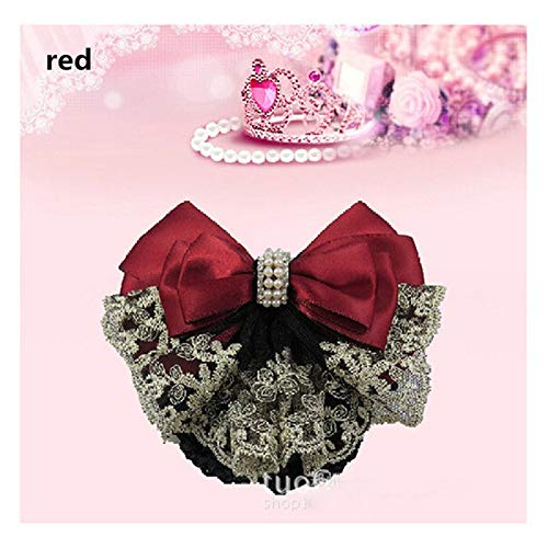 Snood Gold - 1pc Stylish Floral Lace Satin Bow Barrette Lady Hair Clip Cover Net Tullebowknot Bun Snood Women Hairgrips Hair Accessories 8z