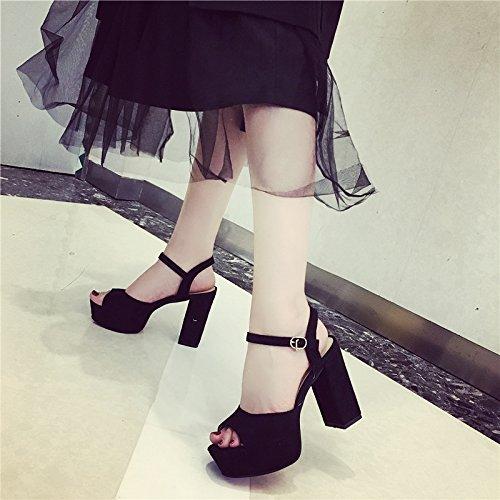 SHOESHAOGE Hembra High-Heeled Sandals Zapatos Boca De Pescado. con Gruesos con Taiwán Impermeable Princesa Moda Mujer Zapatos,Eu37 EU39