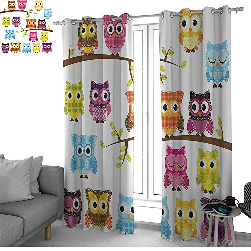 LewisColeridge Blackout Curtain Panels Window Draperies Nursery,Set of Patchwork Quilt Style Owls on Branches with Green Leaves Bird Mascots Print,Multicolor,for Bedroom, Kitchen, Living Room 52