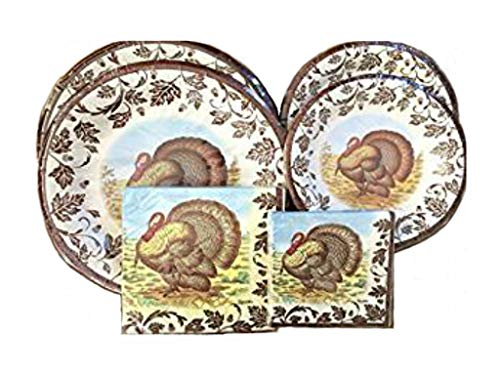 Spode/C.R. Gibson Fall Woodland Turkey Collection - Disposable Paper Plate/Napkin Bundle, 72 Pieces/Serves - Paper Plate Turkey