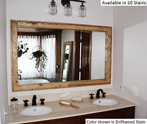 Colonial Vanity - Renewed Décor Double Vanity Herringbone Reclaimed Wood Mirror in 20 stain colors 60