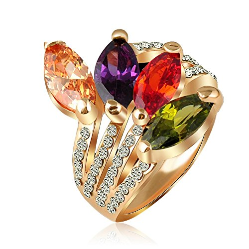 ABINA Leaf Shape Crystal Ring Gold Plate Engagement Rings Costume 6.5