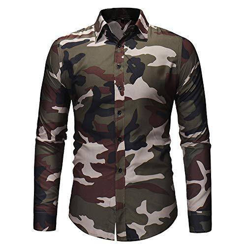 Camicia Manica Uomo colletto lunga Camouflage fit Camicia Aimee7 casual slim Top autunno xBnTqSYSUw