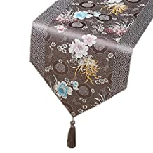 13x79 Inch Beautiful Dining Table Runner Chinese Style Table Cloth, Grey