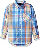 Tommy Hilfiger Boys' Little Long Sleeve Plaid Woven Shirt, Summer Blue, 3