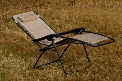 X-Large Camco 51832 Zero Gravity Wide Recliner Tan Fern Pattern