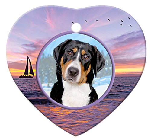 Greater Swiss Mountain Dog Porcelain Heart Ornament - - Mountain Swiss Ornament Dog