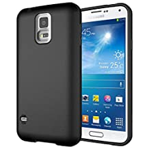 Diztronic Full Matte Black Flexible TPU Case Compatible with Samsung Wireless Charging Cover for Galaxy S5, Retail Packaging