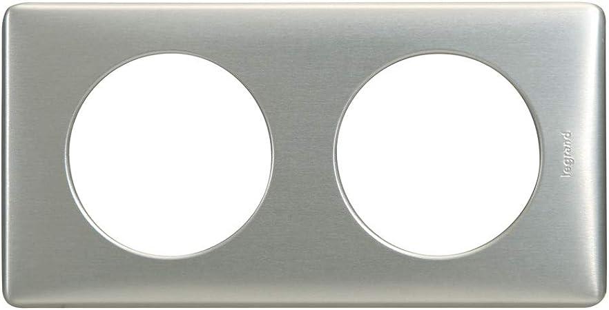 Legrand LEG69112 C/éliane2 Plaque avec 2 postes Nickel Velours