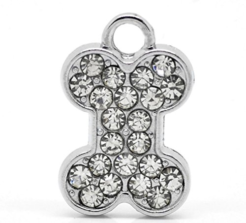 Housweety Silver Rhinestone Pendants 21mmx14mm