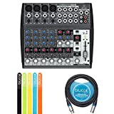 Behringer XENYX 1202 2-Bus Mixer with Mic Preamps, 3-Band EQ BUNDLED WITH Blucoil 10-Ft Balanced XLR Cable AND 5 Pack of Cable Ties
