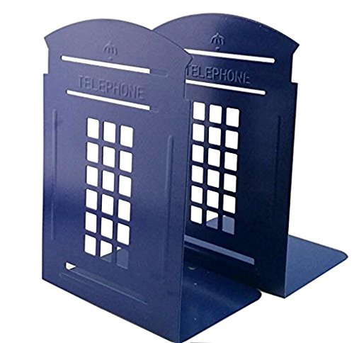(Telephone Booth Bookend Decorative Book End Non Skid Heavy Metal Bookends Books Organizer for Home Office School)