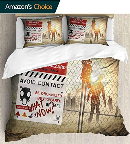 shirlyhome Zombie Decor 3 Piece Quilt Coverlet Bedspread,Dead Man Walking Dark Danger Scary Scene Fiction Halloween Infection Picture Bedding Set for Kids,Boys and Teens 79