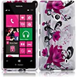 HRWireless Hard Design Cover Case for Nokia Lumia 521 - Retail Packaging - Purple Lily