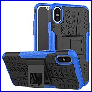 iPhone X Case, DMX Armor cases Tough Rugged Shockproof Dual Layer Hybrid Hard/Soft Slim Protective Stent function Case For iPhoneX (Blue)
