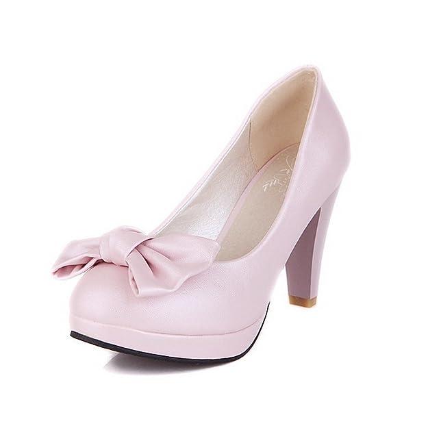 VogueZone009 Damen Ziehen auf PU Leder Rund Zehe Hoher Absatz Rein Pumps Schuhe, Schwarz, 39