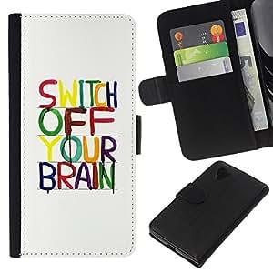 WINCASE Cuadro Funda Voltear Cuero Ranura Tarjetas TPU Carcasas Protectora Cover Case Para LG Nexus 5 D820 D821 - cerebro de motivación relajarse meditación