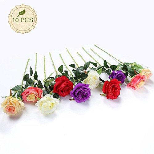 JUSTOYOU 10pcs Artificial Rose Silk Flower Blossom Bridal Bouquet for Home Wedding Decor (Mixed - Flower Mixed Silk